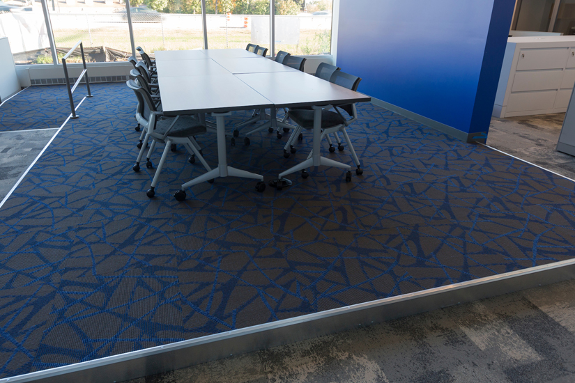 Conference table on top of access flooring