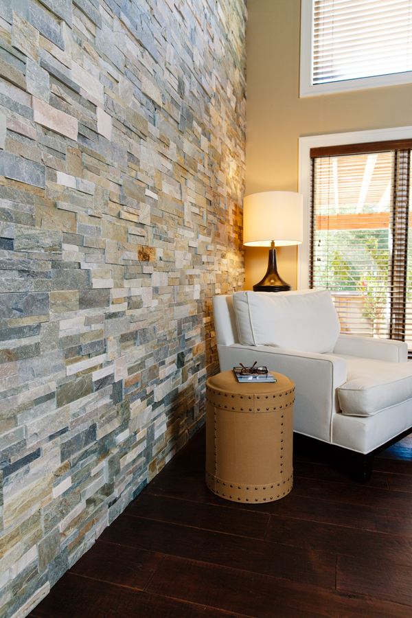 Wall Tile: Golden Sun Stacked Stone wall; Hardwood: Mendocino Hickory; Gryboski Builders, H.J. Martin and Son