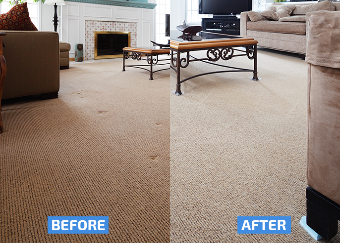 white carpet cleaning before and after in a living room, carpet cleaning results