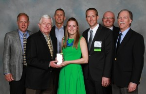 Presentation of Environmental Stewardship Award: [L-R] Kemp Harr, Floor Focus magazine [judge]; Bill Croswell, chairperson of Starnet board of directors; Dave Kitts, Mannington Mills [judge]; Rachel Weber, H.J. Martin; Gary VandenLangenberg, H.J. Martin; Carlton Billingsley, chairperson of Starnet environmental issues committee; and Bob Peoples, CARE [judge]