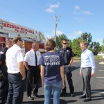 David Martin (right) greets Town of Menasha and Neenah-Menasha fire departments