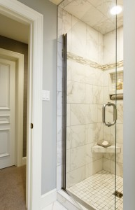Custom shower door with nickel hardware, H.J. Martin and Son