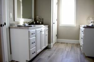 New luxury vinyl plank bathroom floor, H.J. Martin and Son