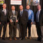 Exterior award (L-R) Bob Barker of AGC-WI, H.J. Martin's Ryan Roth, Chad Hultman, Jordan Priewe and Edward Martin