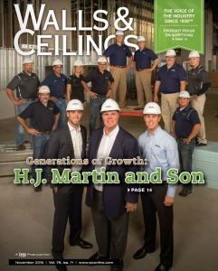 Walls and Ceilings November 2016 cover, H.J. Martin and Son