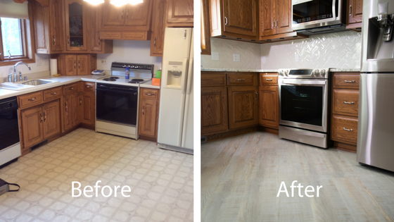 Before and after the kitchen remodel
