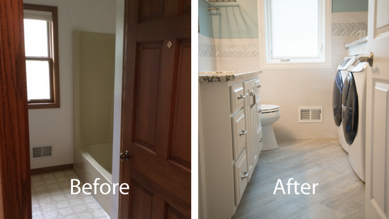 before and after of the bathroom and laundry room