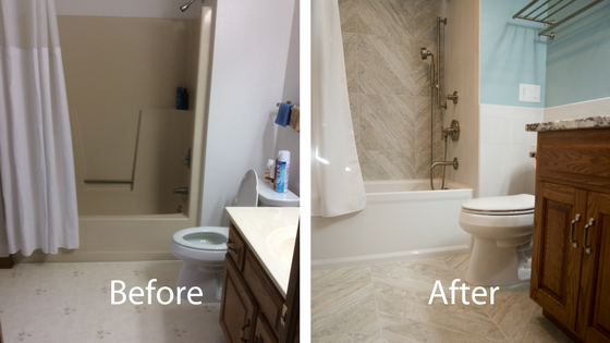 Before and after of the second floor bathroom