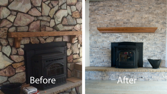 before and after the remodel of the living room fireplace