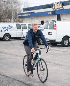 Employees regularly bike to work, H.J. Martin and Son