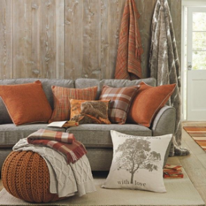 Add a pop of color with burnt orange throw pillows