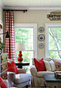 Deep or bright red throw pillows and curtains