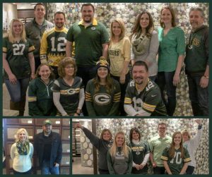 employees dressed for Packer game day, green and gold, #gopackgo, H.J. Martin and Son
