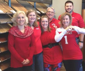 employees wear red to raise awareness for heart disease, February, H.J. Martin and Son