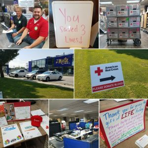 Showroom blood drive, employees donate, H.J. Martin and Son