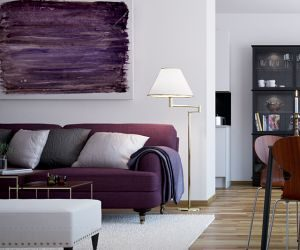 shades of purple used in a living room, purple painting and couch