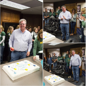 CEO and President, Edward Martin, celebrates his birthday at the office surrounded by employees, H.J. Martin and Son