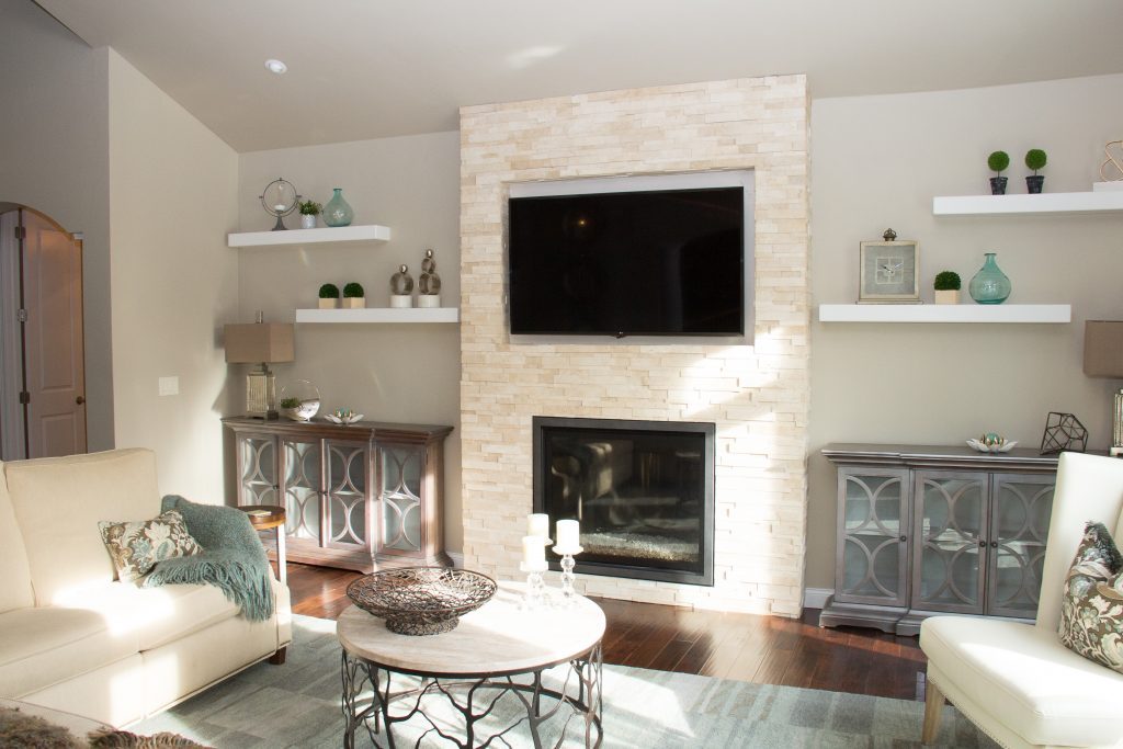 Stone fireplace surround, H.J. Martin and Son