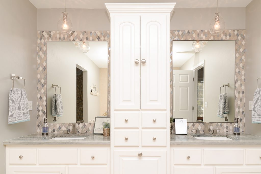 Tiled bathroom mirror, vanity splash, H.J. Martin and Son