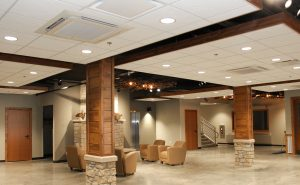 H.J. Martin and Son installed 10,000 SF of acoustical ceiling tile while meeting the challenge of ceiling clouds. H.J. Martin and Son