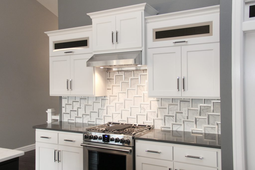 White and silver tiled backsplash, 2018 showcase of homes, H.J. Martin and Son