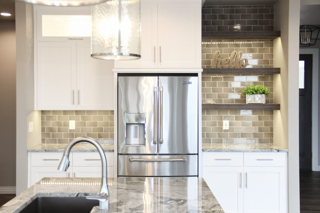 Green tiled kitchen backsplash, 2018 showcase of homes, H.J. Martin and Son