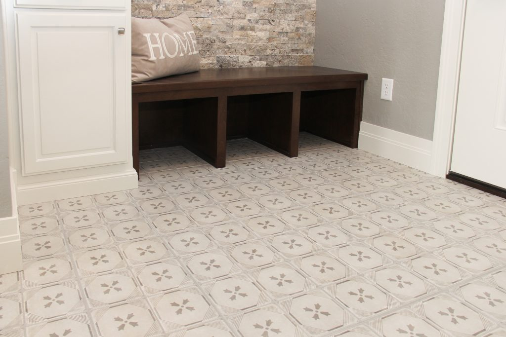 White patterned tile, mudroom floor, 2018 showcase of homes, H.J. Martin and Son