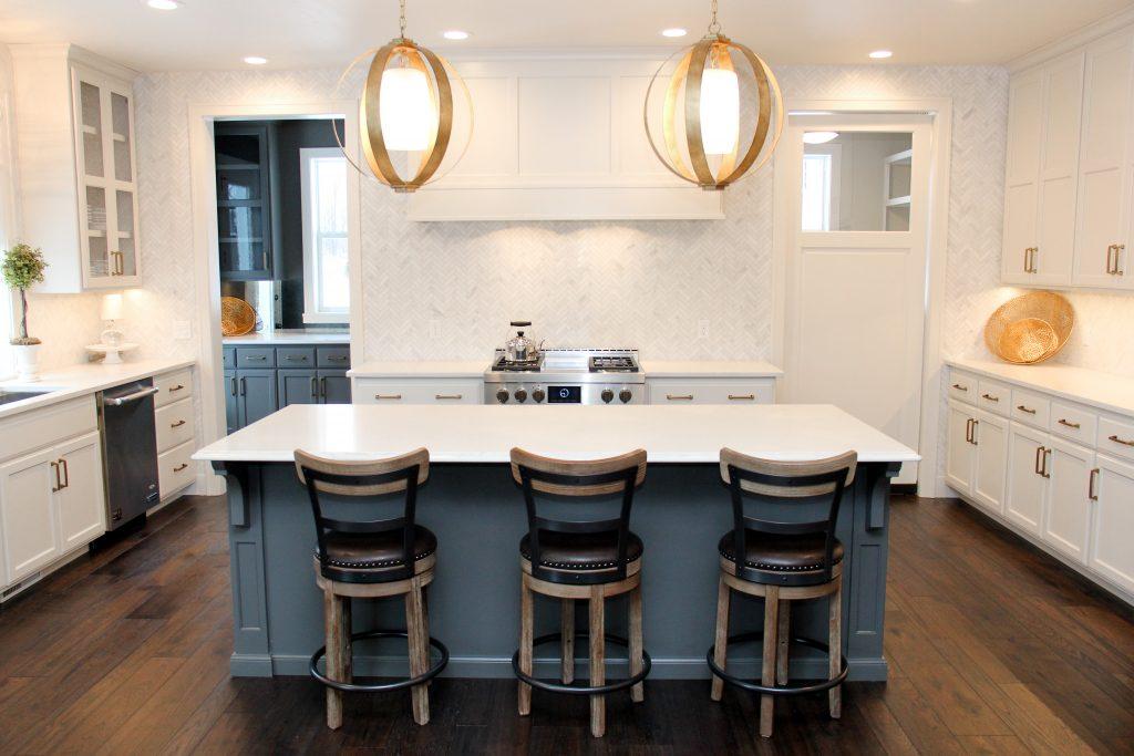 Hardwood kitchen floor, white tile backsplash, 2018 showcase of homes, H.J. Martin and Son
