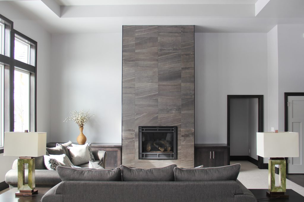 Tile fireplace surround, 2018 showcase of homes, living room, H.J. Martin and Son