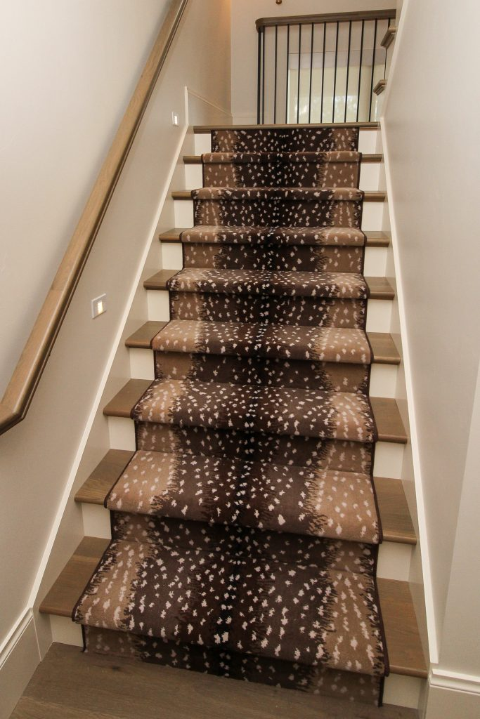 Brown spotted staircase runner carpet