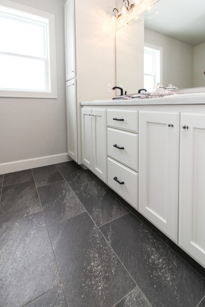 Master Bathroom with Black Luxury Vinyl Tile