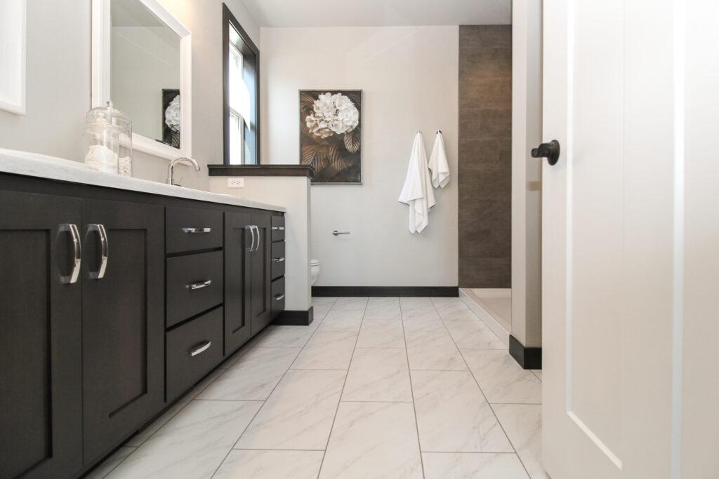 Master Bathroom Marble Tile Flooring