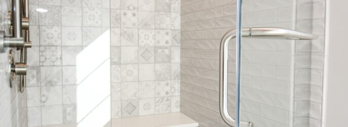Master Bath Shower with Grey Pattern Tiled Walls