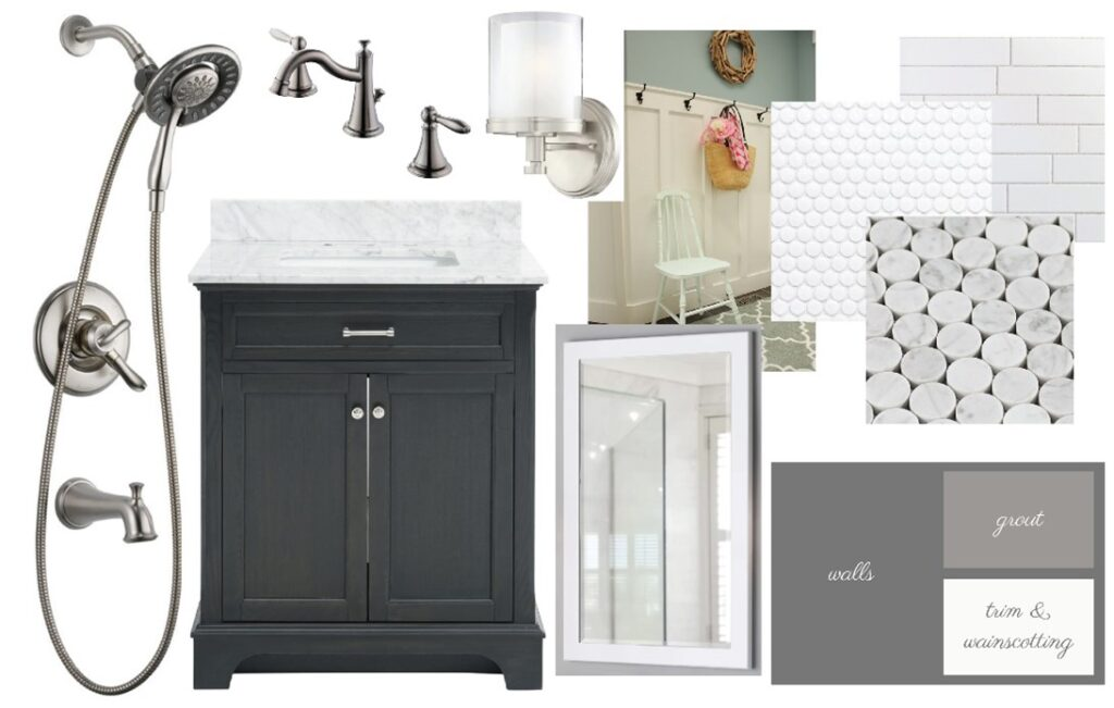 White, gray based mood board with light and shower fixtures.